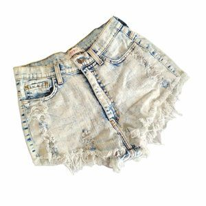 Vibrant MIU bleached faded destroyed booty shorts